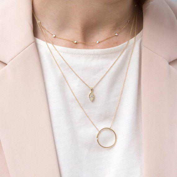 Diamond Necklace, Gold Necklace, Satellite Gold Necklace, Dainty necklace, Minimalist Necklace, Chai