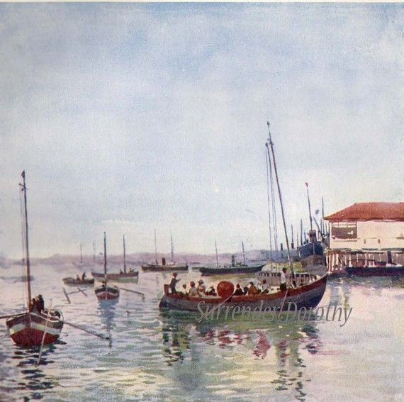 Fishing Boats Port Bahia Blanca Vintage by SurrenderDorothy, $19.89