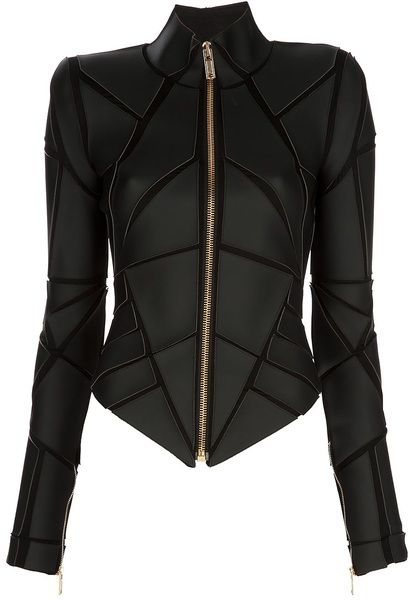 Gareth Pugh Geometric Panelled Jacket in Black - He knows how to make you feel like a superhero.   Love it!!!!