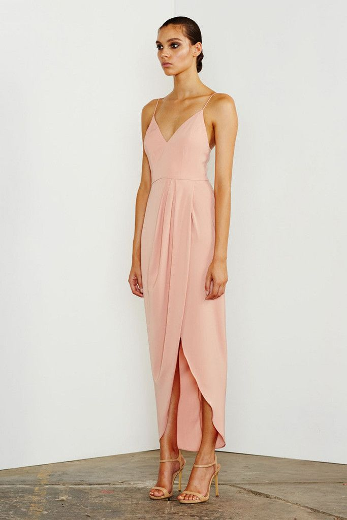 Shona Joy - Stellar Cocktail Draped Maxi - Dusty Pink