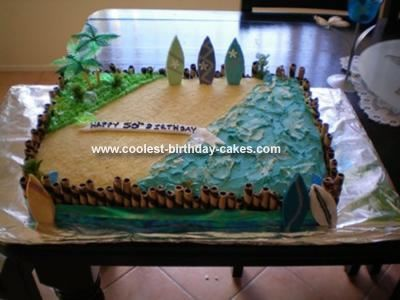Homemade Beach Birthday Cake: This Beach Birthday Cake was made for a 50th, and it was surf and beach themed as requested.  It is chocolate cake with vanilla frosting sandwiched between