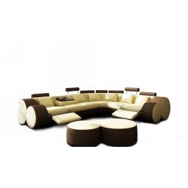 3087 Modern Beige and Brown Leather Sectional Sofa and Ottoman - 2295.0000