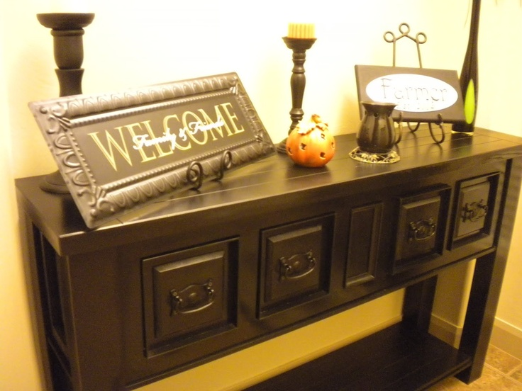 LOVE: Dark Tables, Signs, Entryway Tables, Plates Holders, Drawers, Tables Wal, Trouble Entryway