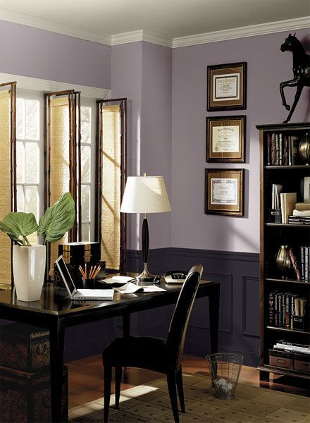 Benjamin Moore Paint Colors - Purple Home Office Ideas - Striking Modern Purple Home Office - Paint Color Schemes . . . . . Transform a traditional space with a pair of purple hues. . . . . . Upper Walls - Mauve Blush (2115-40); Wainscoting - Tulsa Twilight (2070-10); Ceiling & Trim - Collingwood (OC-28).: