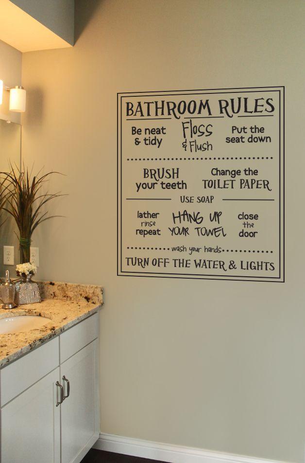 Fun Bathroom Rules Wall Decal Bathroom Rules Bathroom Decor Diy Bathroom Decor