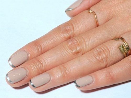 Hot nail trends~ Freshen up a French mani with metallic tips, pretty and subtle!