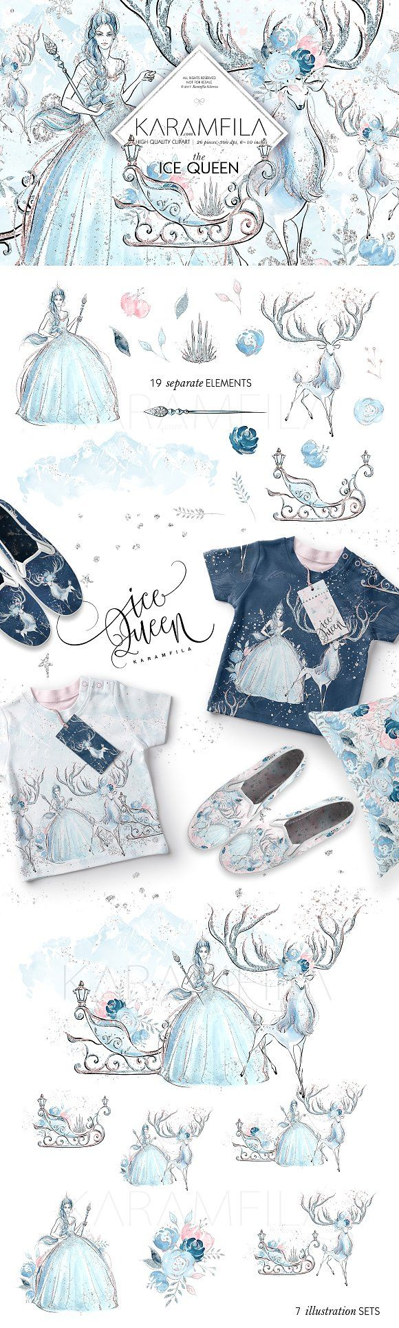 Ice Queen Clipart by Karamfila on @creativemarket