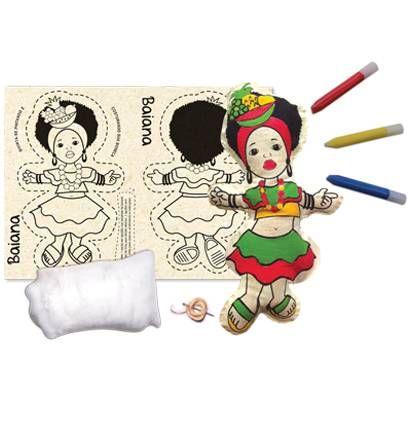 Brinquedos para costurar e pintar - Boneca Baiana