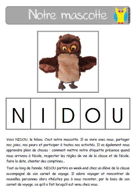 Présentation de la mascotte pour le cahier de vie des élèves