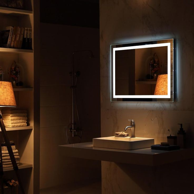 Hanging Led Wall Mirror Avgard Luxury Guest Bathroom