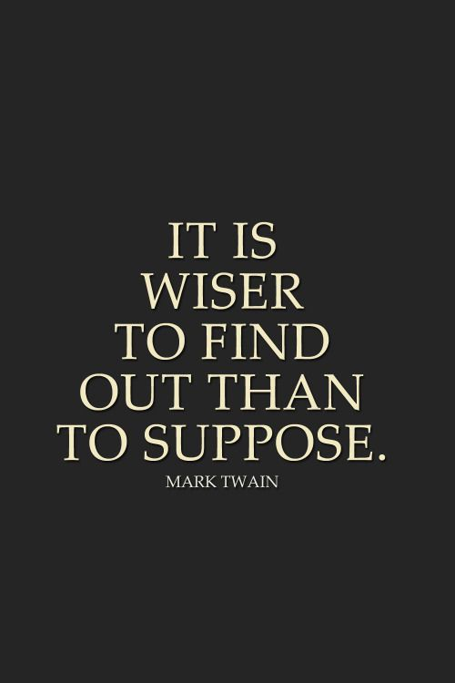IT IS WISER TO FIND OUT THAN TO SUPPOSE... So I Suppose I am WISER, NOW THAT I…