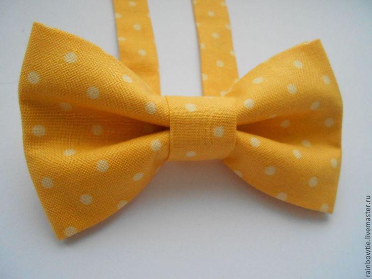 """Купить Галстук бабочка """"Желтая в горох"""" - желтый, в горошек, свадьба, свадебные аксессуары, галстук-бабочка"""