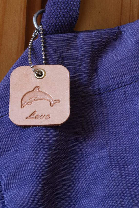 Handmade Love Dolphin Leather Bag Charm by Tina's Leather Crafts on Etsy.com.  Repin To Remember.