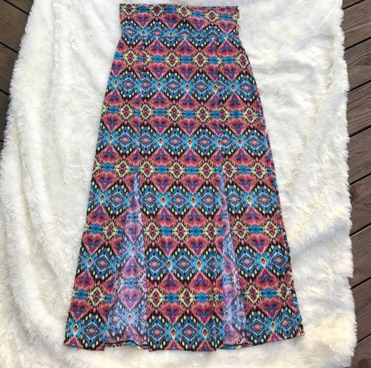 No Boundaries Women's Maxi Skirt High Slits Yoga Waistband XL Aztec   Clothing, Shoes & Accessories, Women's Clothing, Skirts   eBay!