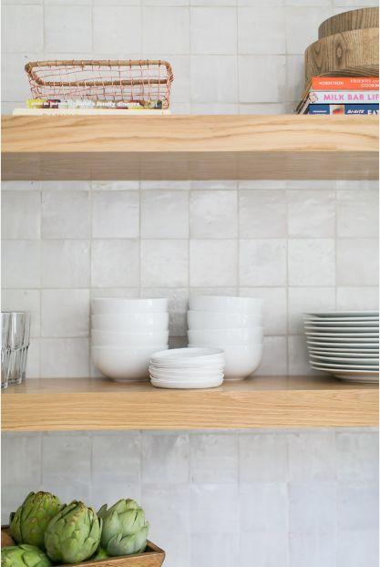 clé's white zellige sparkles in laid-back san clemente kitchen backsplash