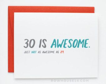 Funny Birthday Card 30th Birthday Card Birthday by CheekyKumquat