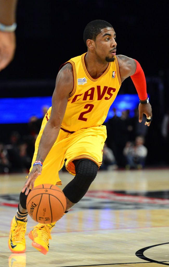 Kyrie Irving #2 of the Cleveland Cavaliers, led the team in scoring, assists, and steals per ...