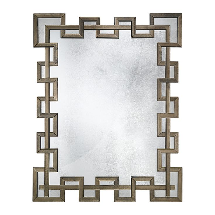 09006 Dèco style mirror ascribed to Serge Roche (1898-1988) with bevelled and antiqued bronze mirrored frame. Wooden structure finished in antiqued silver leaf.