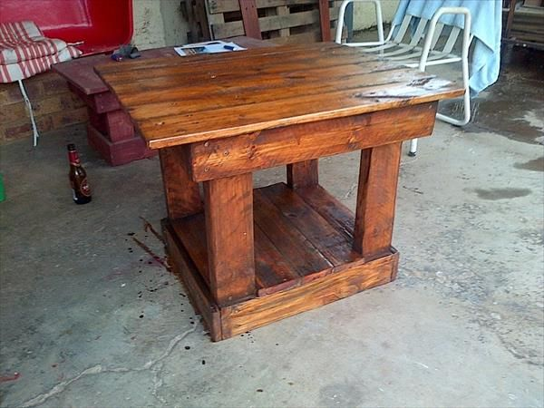 Hand Polished Pallet Table - 15 Unique Reclaimed Pallet Table Ideas | 99 Pallets