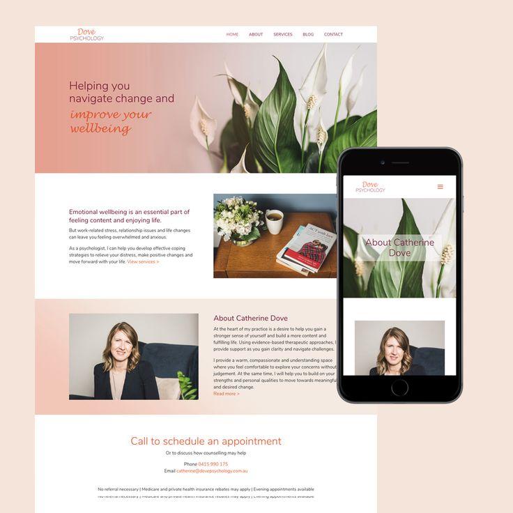Dove Psychology website design melbourne. Psychologist website built on WordPress.