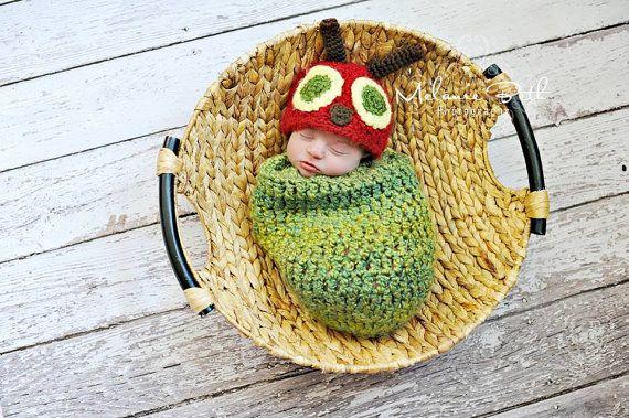 Baby Boy Hat Very HUNGRY CATERPILLAR  Newborn Baby Boy Crochet Caterpillar Hat and Cocoon on Etsy, $39.99