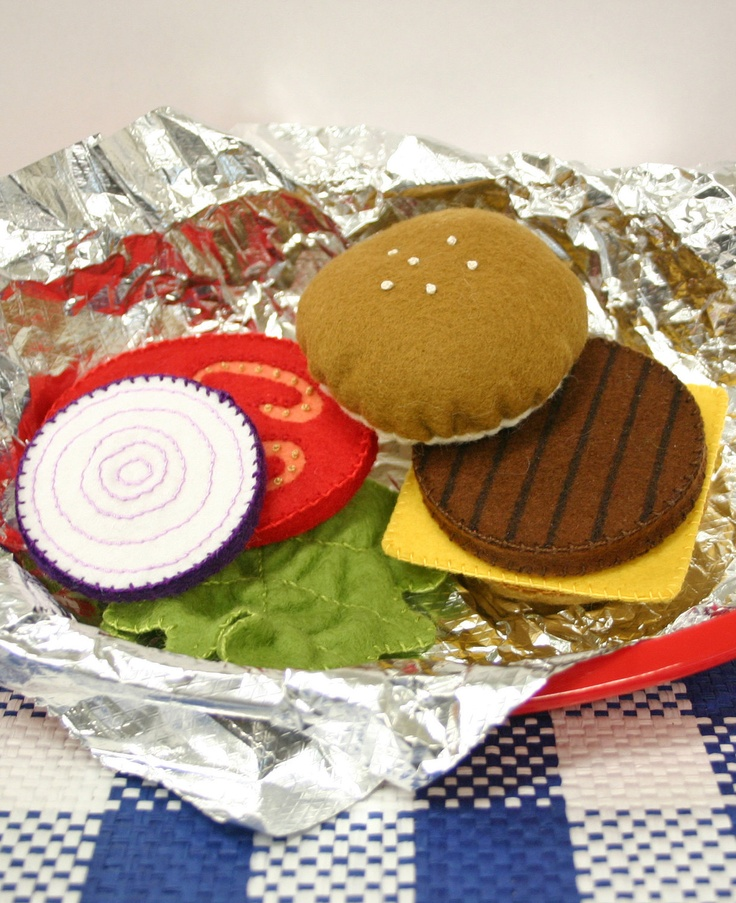 Wool Felt Play Food - Cheeseburger. $42.00, via Etsy.