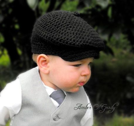 Crochet Hat Pattern Baby Boy Newsboy Cap Cabby Beanie Hat