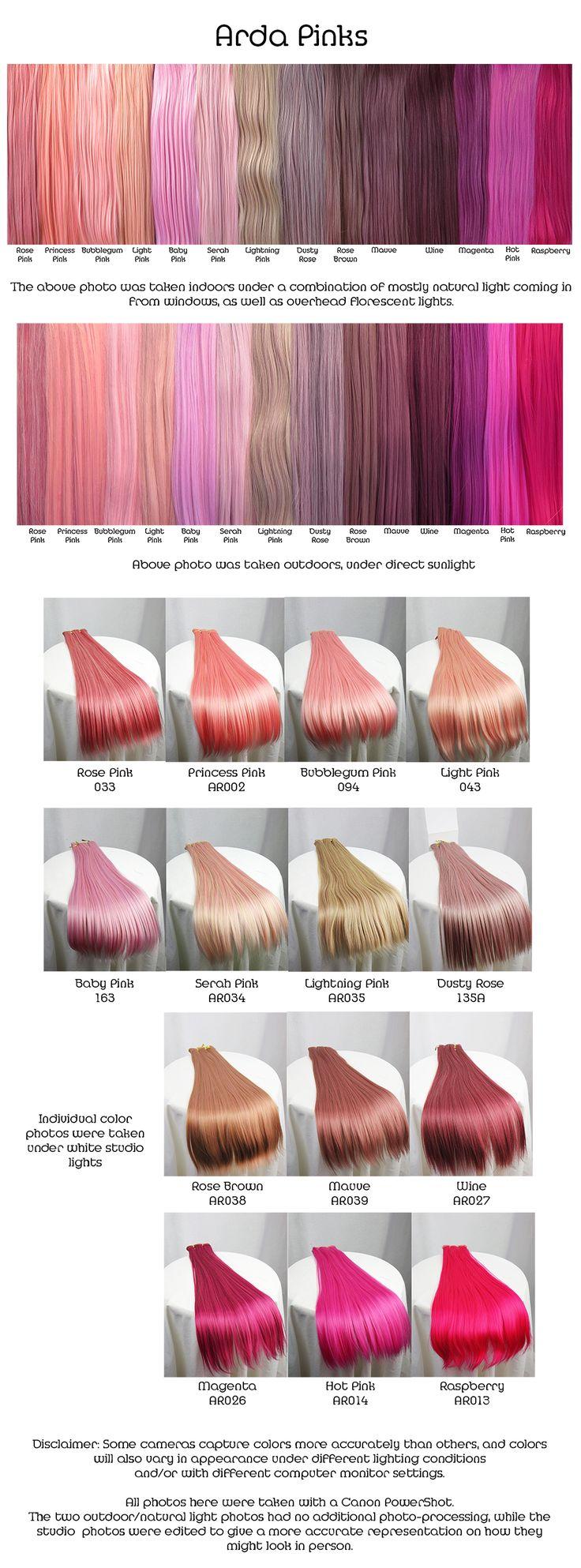 Arda pinks, wig fiber color pallette.