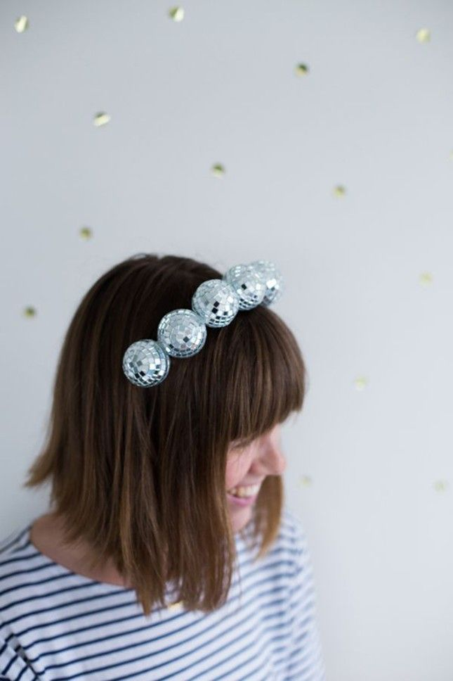 This disco ball headband is a must-make for NYE parties.