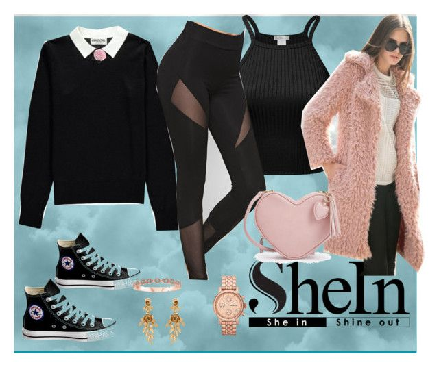 """Super Leggins   Shein: Black Legging"" by bluehatter ❤ liked on Polyvore featuring Essentiel, Converse, WithChic, Oscar de la Renta, FOSSIL, Chanel and crazyforfashion"