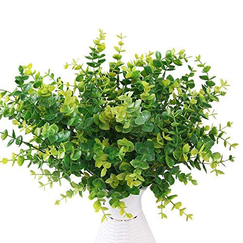 Artificial Shrubs,AmyHomie 5pcs Faux Plastic Eucalyptus Leaves Bushes Fake Simulation Greenery Plants Indoor Outside Home Garden Office Verandah Wedding Decor  Specification: 5 Shrubs/ Pack, which the picture shows is exactly the effect of the 5 Shrubs. Height: 14 inch  Material: silk with injection molding. The product is made of healthy and environmental materials.It's not easy to fade or fall. All flowers are look beautiful and vivid  Usages:weddings,stages,parlours,bedrooms,parks,o...