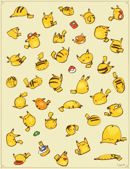 Pikachu~   Fandom Fact: Pikachu was named after two Japanese sound effects: Pika Pika (sparkles) and Chu which is the sound of a mouse.