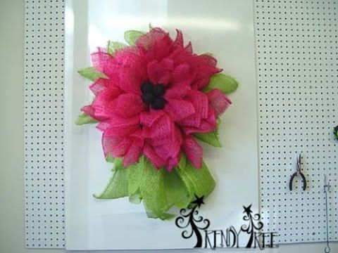 "Trendy Tree Deco Paper Mesh Flower Video Tutorial using 10"" Fuchsia Deco Paper Mesh and a 10"" Pencil Wreath  Subscribe to the Trendy Tree Channel http://www.youtube.com/subscription_center?add_user=trendytree"