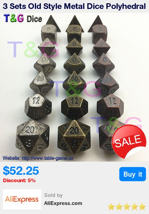 3 Sets Old Style Metal Dice Polyhedral Digital Dice for RPG Table Game High Quality * Pub Date: 03:45 Apr 28 2017