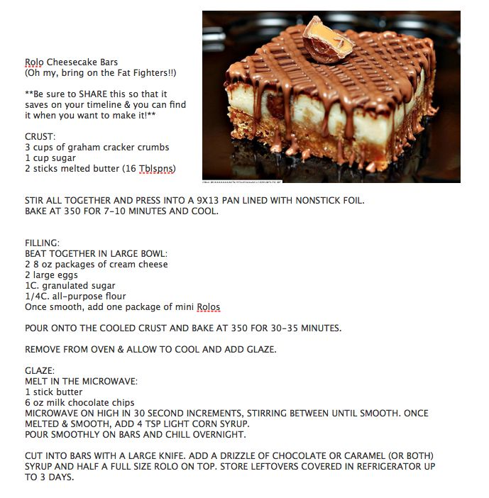 Rolo Cheesecake Bars | Chocoholic's Anonymous Dropout Club | Pinterest