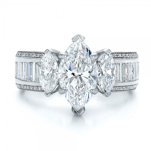 Engagement Rings / Custom Three Stone Marquise and Baguette Diamond Engagement Ring - Custom Design Jewelers of Seattle and Bellevue - Joseph Jewelry