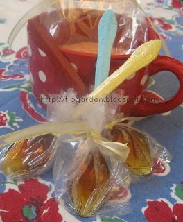 "Honey Lemon Spoons for a ""tea lovers"" gift basket. They harden into a honey lemon toffee to stir into tea."
