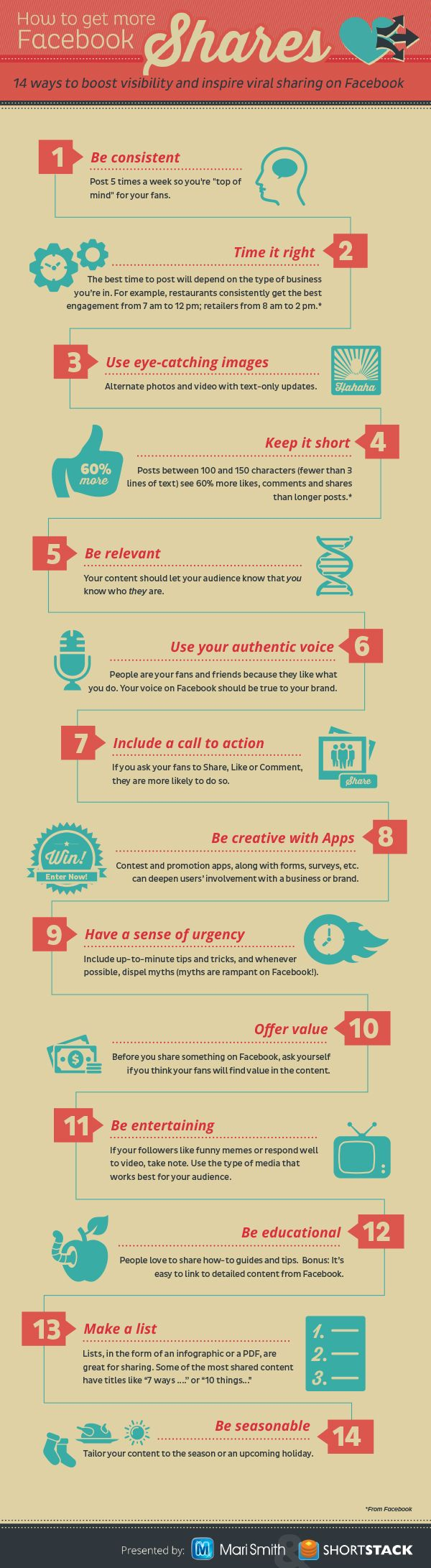 In this fun INFOGRAPHIC, you'll find 14 different ways to help boost your Facebook visibility and inspire more SHARES!