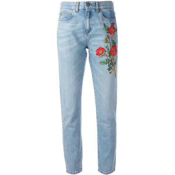 Gucci embroidered flower jeans found on Polyvore featuring jeans, pants, bottoms, denim, gucci, blue, 5 pocket jeans, straight leg jeans, zip jeans and blue jeans