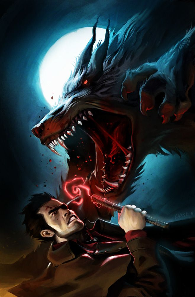 "I just finished the Dresden Files book, ""Fool Moon."" If you like werewolves and modern, wisecracking wizards, read this book. I have no idea who drew this, but it's a pretty accurate depiction of almost every single fight with a werewolf in the story."