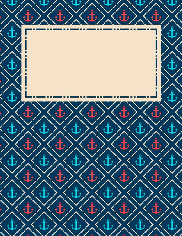 Free printable anchor binder cover template. Download the cover in JPG or PDF format at http://bindercovers.net/download/anchor-binder-cover/