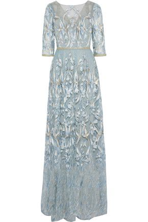 fc4fe5eaf01 Marchesa Notte sequin-embellished metallic embroidered tulle gown ...