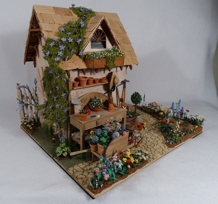 1 12 Scale Handcrafted Miniature Potting Shed Scene Tons