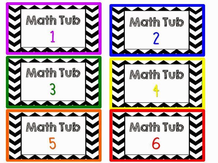 FREEBIE Friday {Chevron Decorations} *Math Tub Labels*