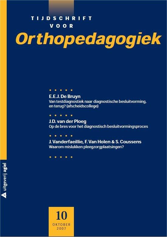 Tijdschrift voor orthopedagogiek. Plaats: tijdschriftenrek.
