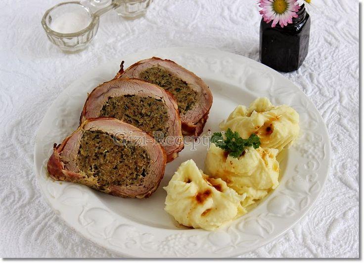 Gizi-receptjei. Várok mindenkit.: Hétvégi receptajánló!!! Szűzpecsenye medvehagymás-darált húsos töltelékkel.
