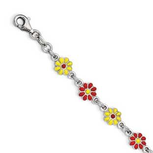 Children's Sterling Silver Colorful Flowers Charm Bracelet Available Exclusively at Gemologica.com