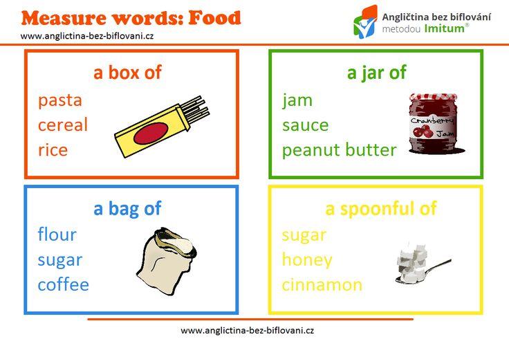 Už jsme zjistili, že nepočitatelná podstatná jména lze vyjádřit pomocí tzv. MEASURE WORDS. V případě jídla lze použít třeba ta, která vám nabízí naše grafika. #measurewords #food