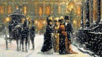 Victorian visit in snow cross stitch kit or pattern | Yiotas XStitch