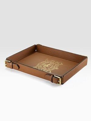 Saddle leather tray